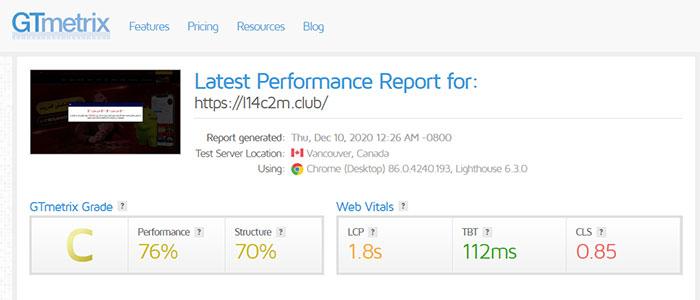 ارزیابی سایت بت لند توسط GTmetrix